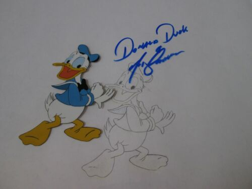 Disney Donald Duck production cel with drawing signed by voice Tony Anselmo