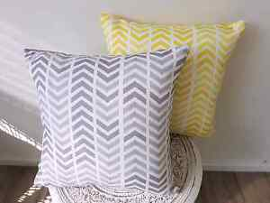Adairs arrow chevron cushions 41x41cm in grey and yellow decor Woy Woy Gosford Area Preview