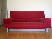 """IKEA 3 seat sofa bed """"Beddinge"""" with red cord cover and pillows Bulimba Brisbane South East Preview"""