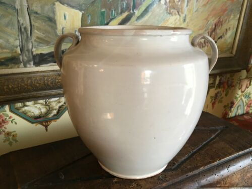 Antique French Large White Confit Gres Jar 19thC Terra Cotta Pot Pottery