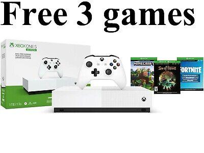 Microsoft Xbox One S All-Digital 1TB Console 3 Games bundle Minecraft Fortnite