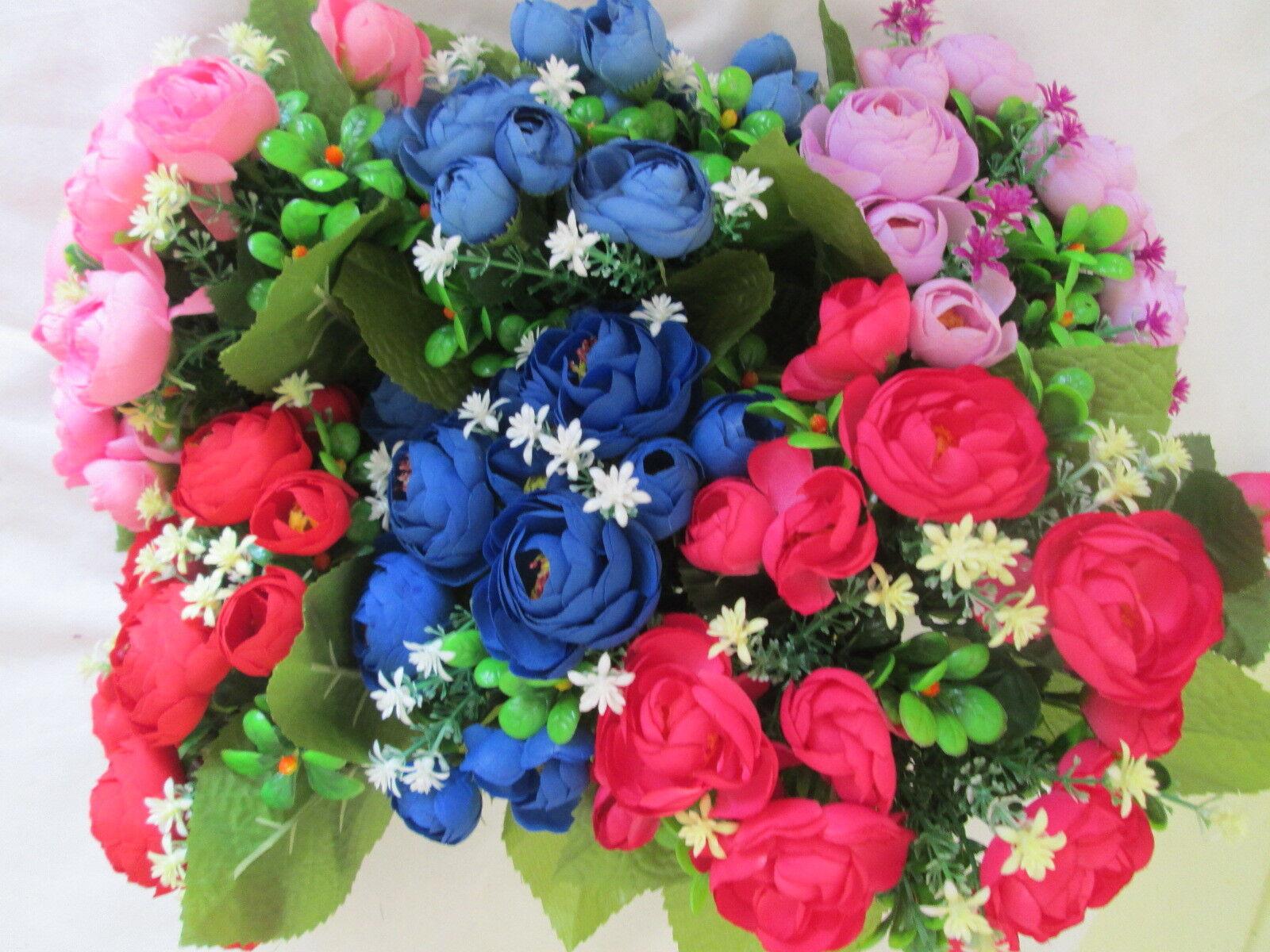 1 Kamelie Rosen Strauß 27x22cm Künstliche Kunst Blume Bouquet Seidenblume Flower