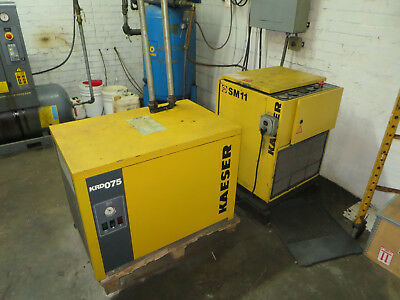 Kaeser Air Compressor Model Sm11 With Krd-075 Air Chiller Dryer Air Receiver