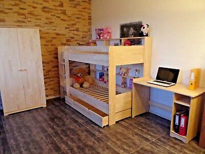 Kinder Hochbett (Hochbett Etagenbett Stockbett Kinderbett Kinderzimmer Rollrost Schublade Massiv)