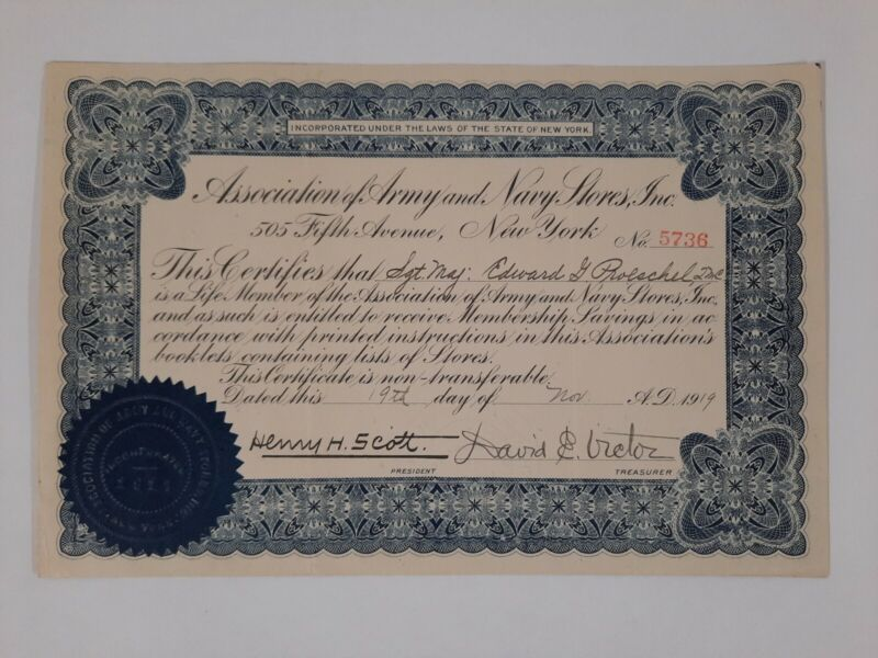 ARMY NAVY ASSOCIATIONS STORES NEW YORK history WWI veterans Discount CERTIFICATE