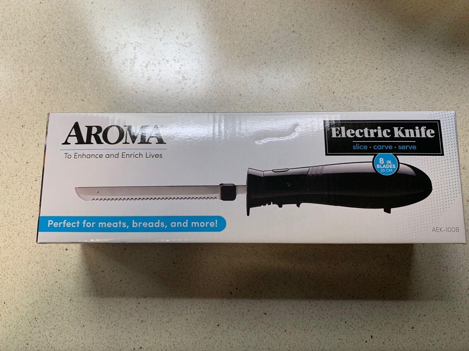 black electric knife slice carve serve aek