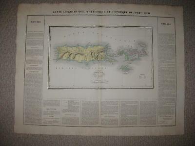 HUGE ANTIQUE 1825 PUERTO RICO VIRGIN ISLANDS ST THOMAS CAREY & LEA BUCHON MAP nr