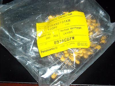 50 Pcs 100pf 2000v Panasonic Ceramic Disc Caps 10 105 C Eckasd101kb Rohs