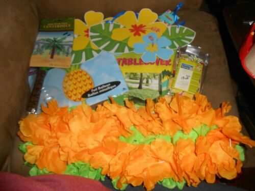 Set of 10 Hawaiian Tropical Party Decorations  USA Seller