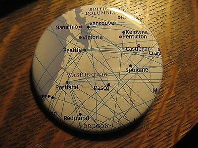United Airlines Seattle Vancouver Pacific Northwest Route Karte Anstecker Button