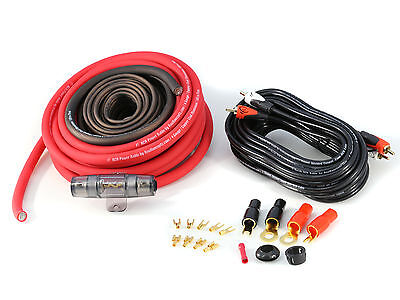 KnuKonceptz KCA TRUE 8 Gauge Amp Kit Installation Wiring Kit Red 8 AWG