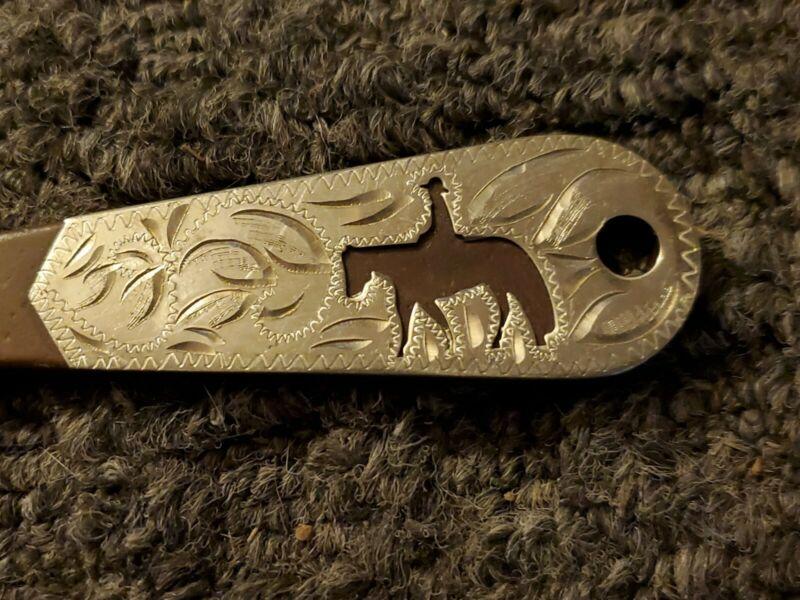 Horse Hoof Pick Solid Steel Antique Brown Color Silver Engraved Western Pleasure