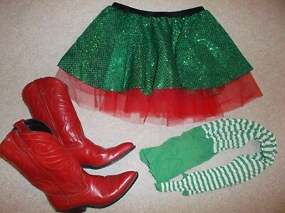 women's green sequined elf Christmas tulle skirt striped tights red cowboy boots