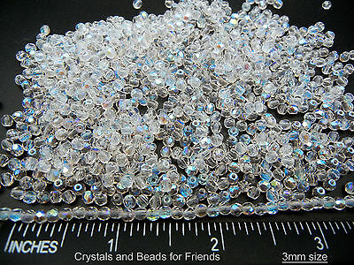 600 Preciosa Czech Glass Round Faceted Fire Polished Beads 3mm Crystal AB, loose
