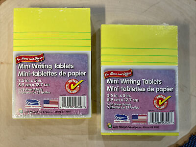 2 Packtree House Writing Mini Yellow Ruled Note Pads 3.5 X 5 10 Tablets