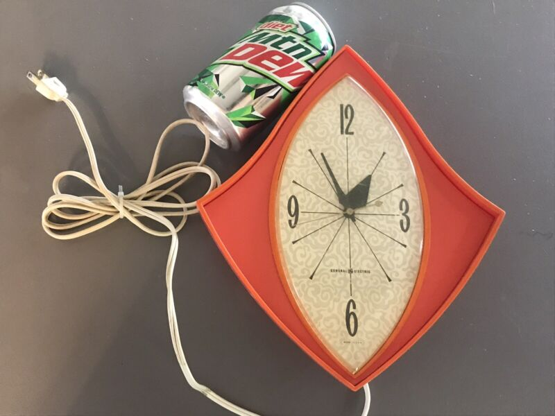 VTG ORANGE Cool Shape Space Mid Century General Electric Wall Clock 2159 WORKING