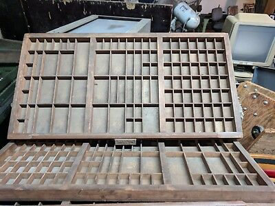 Antique Printers Hamilton, Keystone, Thomaston Type Case Tray Drawers 33x17