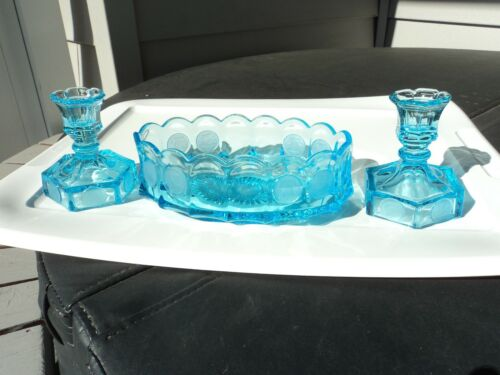 FOSTORIA BLUE COIN OVAL CONSOLE BOWL AND CANDLESTICKS