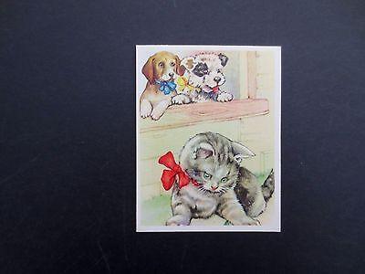 #K949- Vintage Unused Greeting Card Sweet Pair of Dogs Watching Cat in Yard