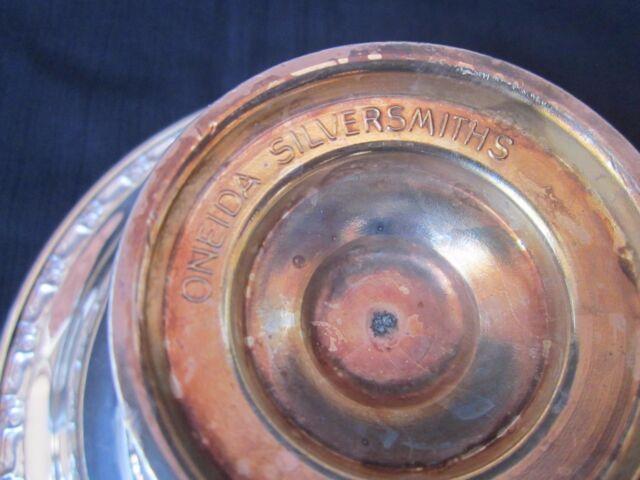 "ONEIDA Silversmiths SilverPlated Pedestal Dish Rose Detail Trim on Rim 7.25""X 4"""