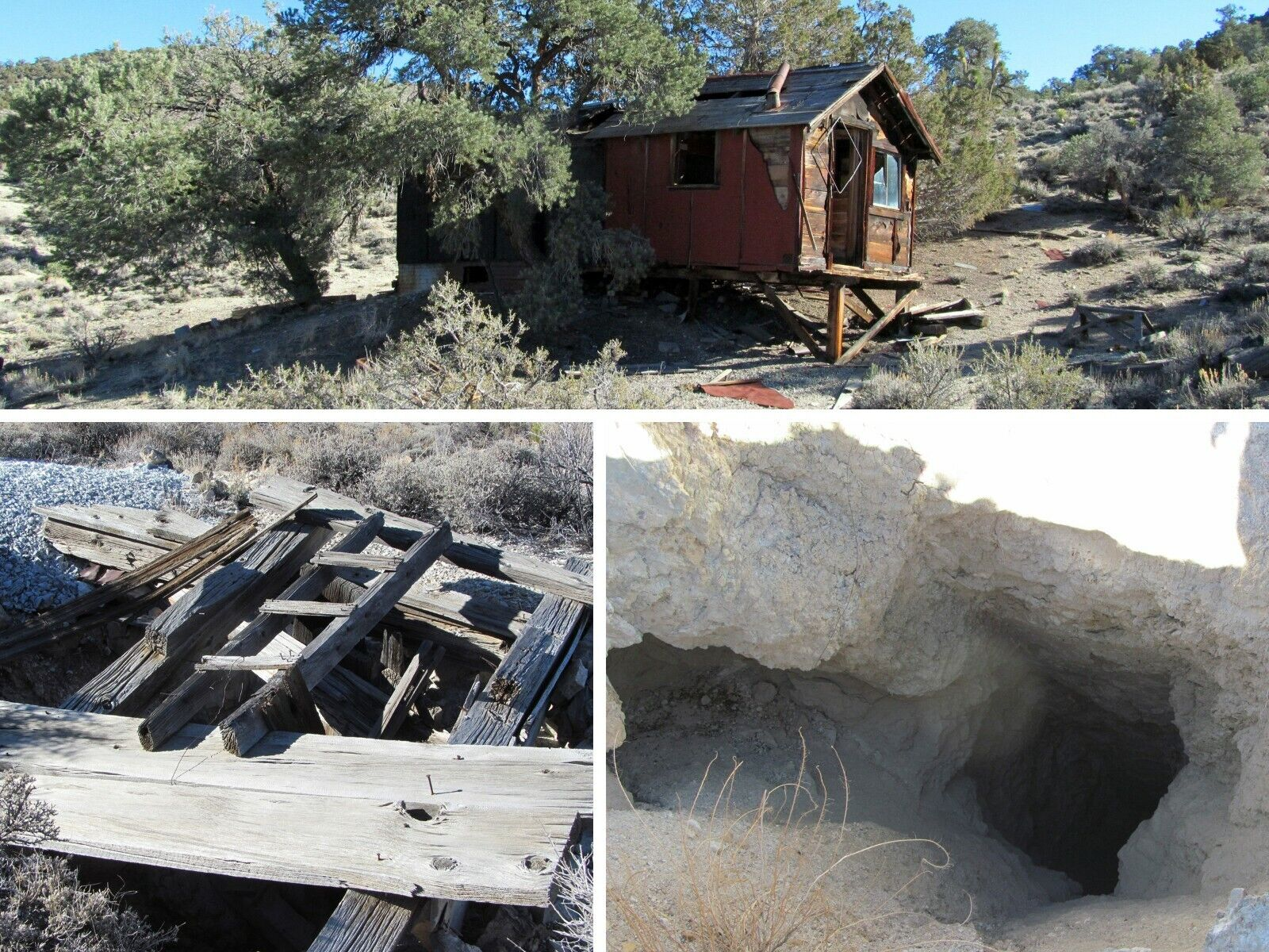 Nevada Gold Silver Mine Historic Palmetto Mining Cabin Claim Adit Shaft Chute
