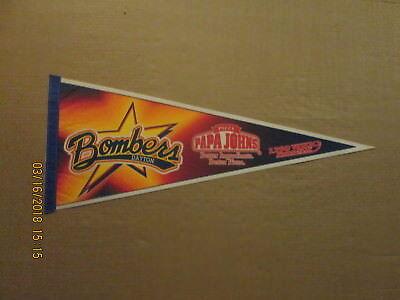 Uhl Dayton Bombers Vintage Defunct Papa Johns   1290 Whio Logo Hockey Pennant