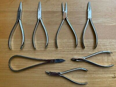 Dental Orthodontic 7 Instruments Pliers Alderer Jelenko Reynolds Plaster Shears