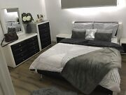 Queen bed leather look bedroom suite bed side table tall boy  Hadfield Moreland Area Preview