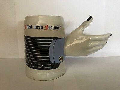 Vintage GERZIT GERZ Novelty Ceramic Beer Mug with Hand, West Germany