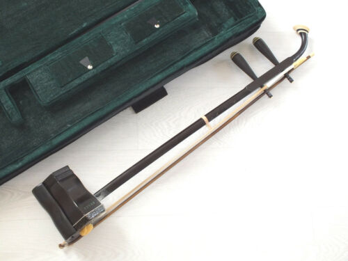 FINE QUALITY CHINESE MUSICAL INSTRUMENT ROSE WOOD 2 STRING ERHU VIOLIN W CASE