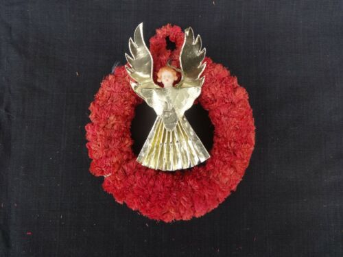 Vintage Red Chenille Christmas Wreath with Foil Angel 4 1/2 Inches