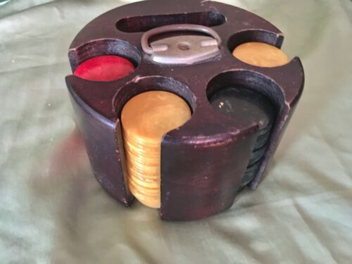 Vintage Bakelite Poker Chips with Round Poker Chip Caddy