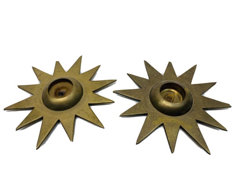 Vintage Solid Brass Set Of 2 Starburst Mcm Sun Candlestick Tea Light Holders