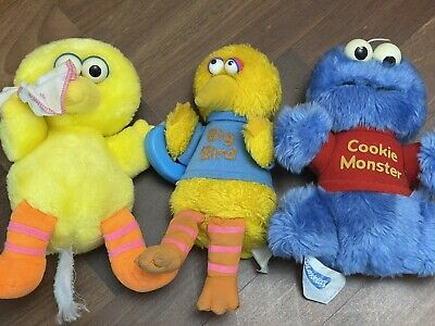 Vintage 1980s Muppets Sesame Street Big Bird & Cookie Monster Soft Toys Plushies