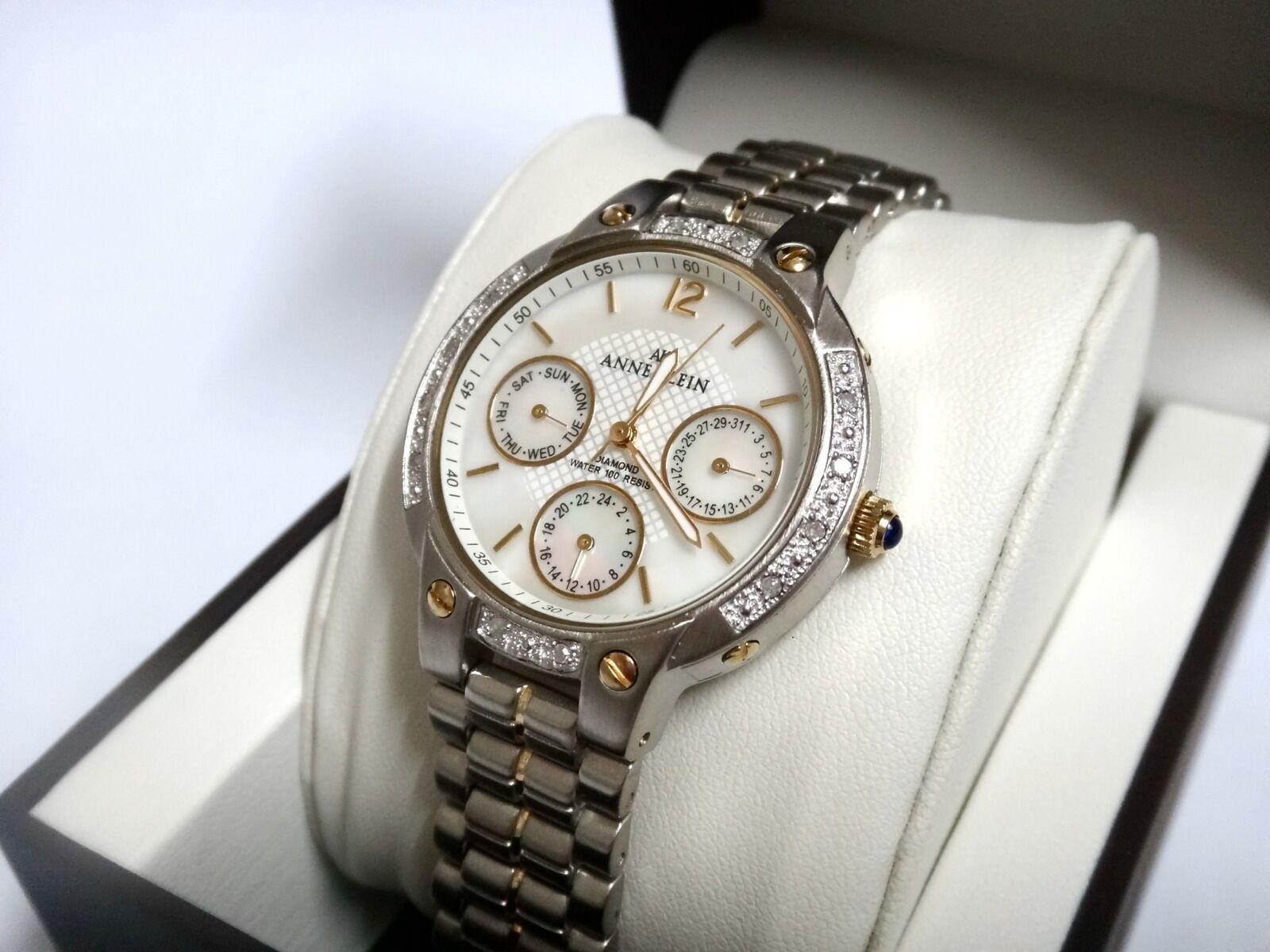 Anne Klein Watch * 8587MPTT Diamond Mother of Pearl Two Tone Multifunction Women