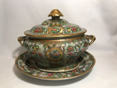 Chinese Export Famille Rose Canton Sauce Tureen With Under Plate-Circa 1800