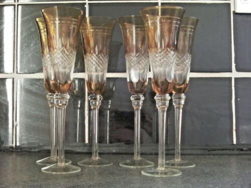 6 CRYSTAL AMBER CHAMPAGNE FLUTES GLASSES 25 CM HIGH
