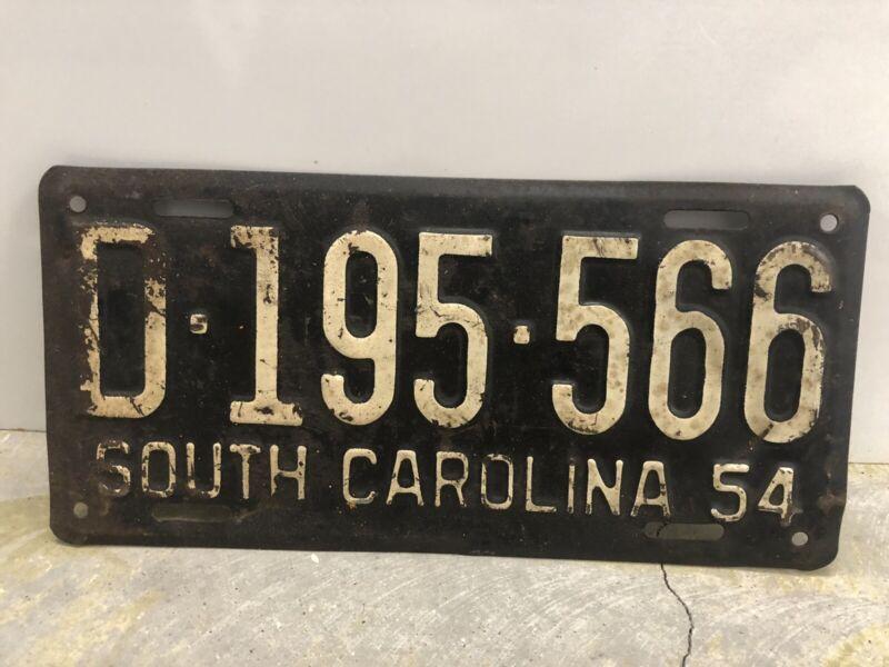 Vintage 1954 South Carolina License Plate