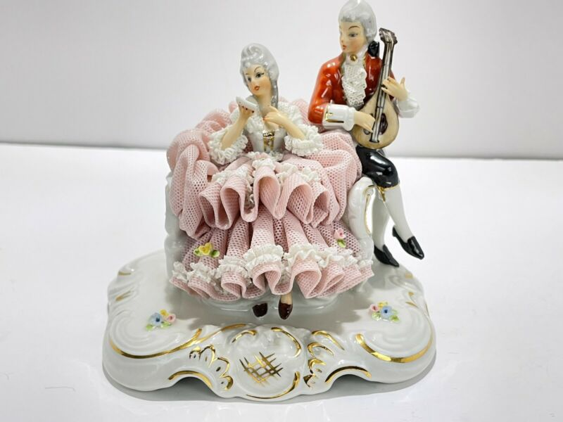Victorian Couple Musician - Porcelain Lace Dresden Figurines by DRESDEN GERMAN
