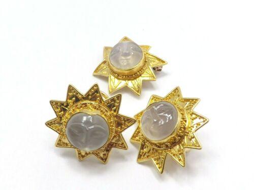 Alix & Co 18k/22k Gold Carved Face Sun Milky Chalcedony Earrings Pin/Pendant Set