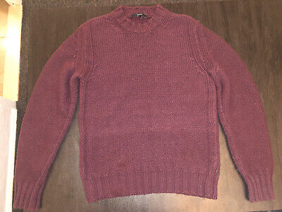 GUCCI Vintage 100% Wool/Cashmere Knit Burgundy Sweater Size Large