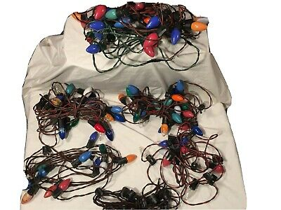 Vintage Outdoor Christmas Lights C-9 Multicolor Lot Of 6 Strands 111 Total Bulbs