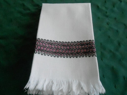 ANTIQUE DAMASK TOWEL WITH A FRINGE AND UNIQUE PINK&BLACK EMBROIDERY, CIRCA 1930