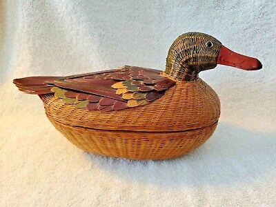 Vintage Wicker Kiangsi Handicrafts Mallard Duck Lidded Basket