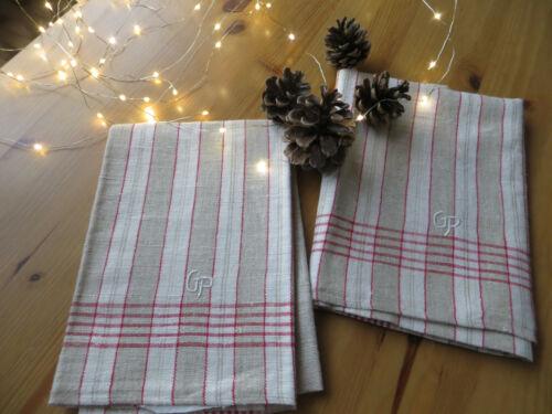 Unused 2 Two  Striped Fine Linen Tiowels Christmas Monogram GP 37 inch german