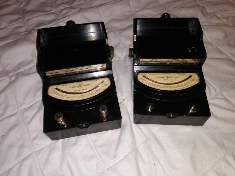 Vintage GE General Electric DC Voltmeter & AC Ammeter