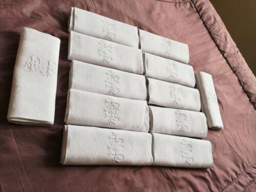 FP Monogram ENORMOUS Banquet Napkins x 12 Silk Linen Damask Antique French White