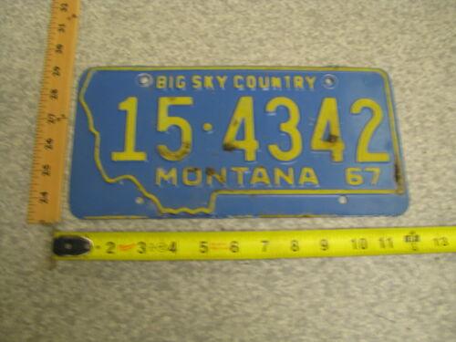 1967 67 MONTANA MT LICENSE PLATE TAG #15-4342 LAKE COUNTY