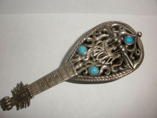 Vintage Judaica sterling silver Dabbah 925 mandolin guitar turquoise spice box
