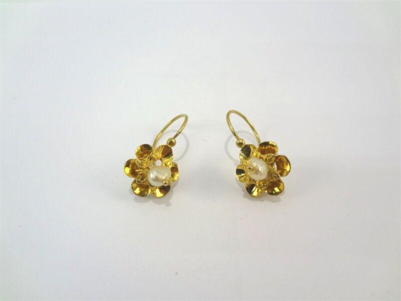 Vintage Flower Floral Pattern Freshwater Pearl 12k Yellow Gold Hook Earrings
